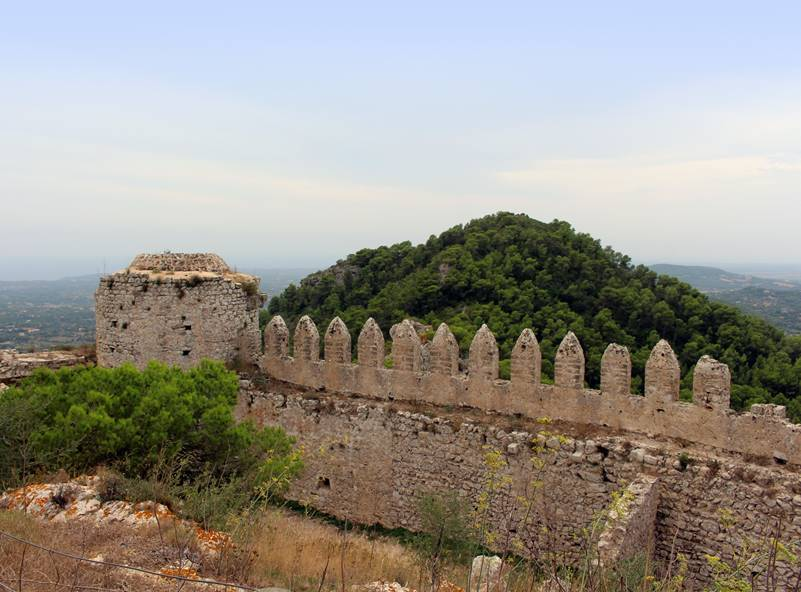 View of the Mediterranean from the Castell de Santueri, Felanitx, Mallorca